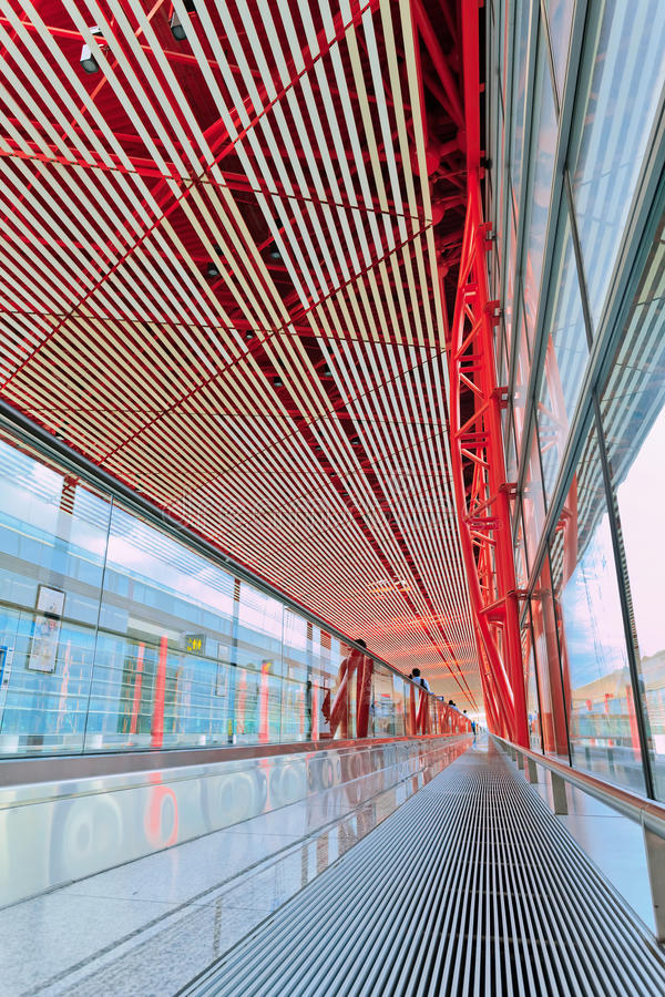 Интерьер международного аэропорта Пекина прописной стоковая фотография