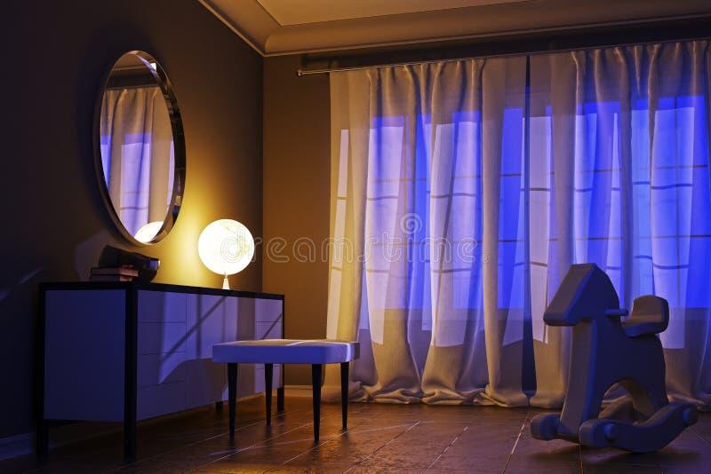 Интерьер ночи в современном стиле с необыкновенной лампой стоковые фотографии rf