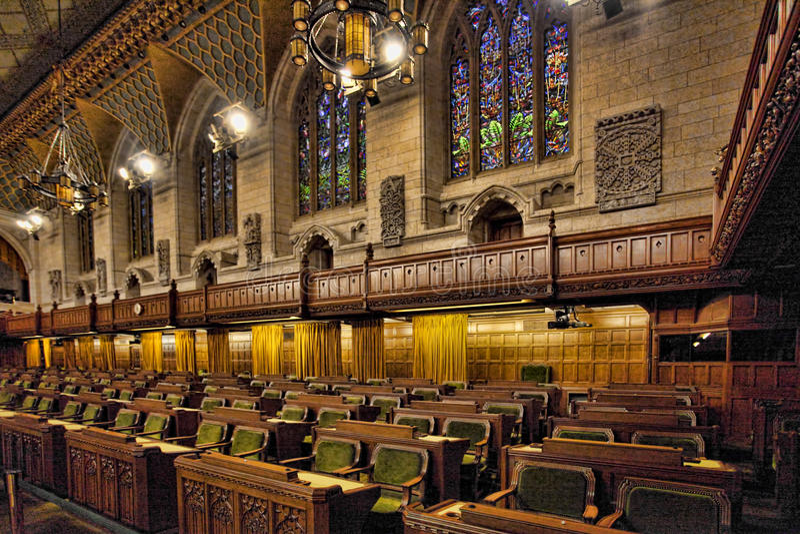 Интерьер общих Канады парламента, Оттавы стоковые фотографии rf