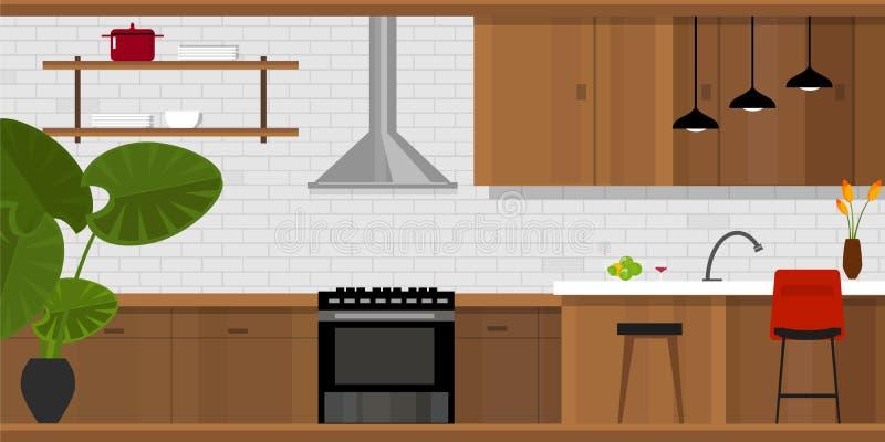 Интерьер дома мебели кухни внутренний иллюстрация штока