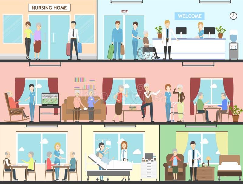Интерьер дома престарелых иллюстрация вектора