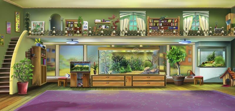 Интерьер дома с аквариумами иллюстрация штока