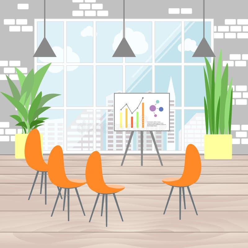 Интерьер офиса в плоском дизайне, infographic представлении, взгляде f бесплатная иллюстрация