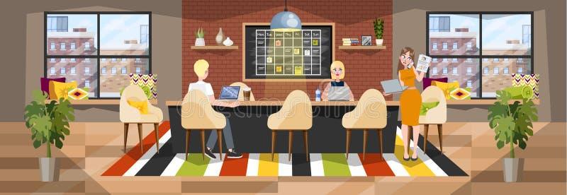 Интерьер офиса Компания Coworking, рабочее место для независимого иллюстрация штока