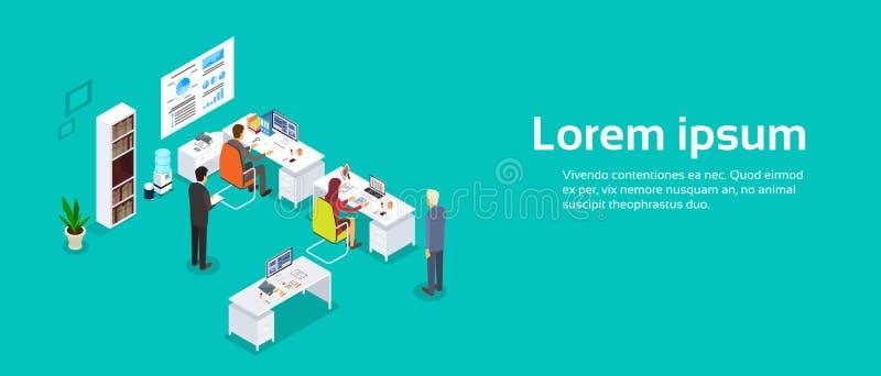 Интерьер офиса, предприниматели работая экземпляр знамени компьютера размечает 3d равновеликое бесплатная иллюстрация