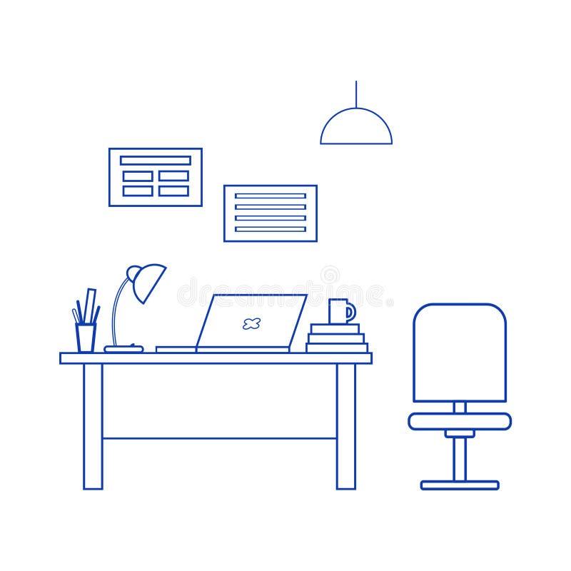 Интерьер офиса Рабочее место: таблица, стул, ноутбук, настольная лампа, плакаты Офисная мебель, современные меблировкы иллюстрация вектора
