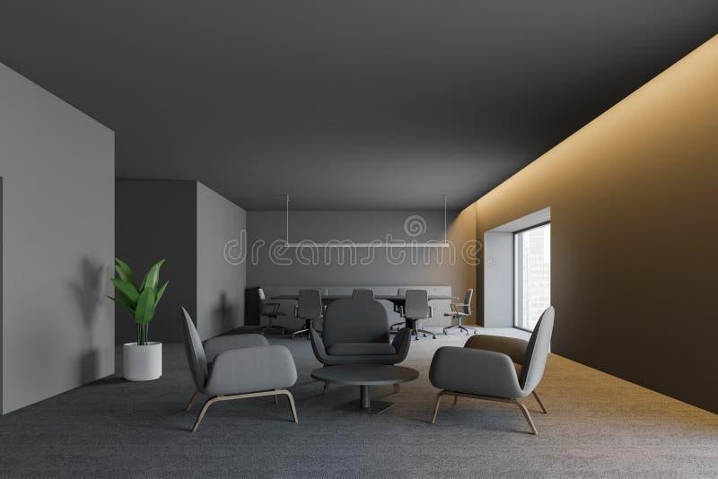 Интерьер офиса современного дизайна темный с местом для работы 3d представляют иллюстрация вектора