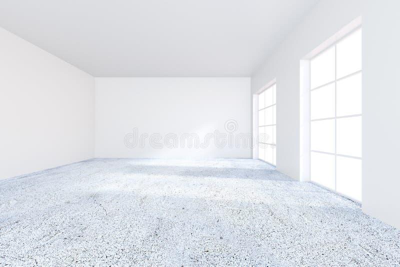 Интерьер офиса современного grunge конкретный с пустой стеной Насмешка вверх, перевод 3D иллюстрация вектора