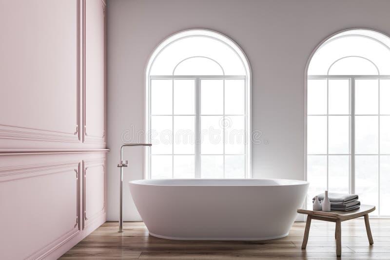 Интерьер пинка и белых bathroom, ушат иллюстрация штока