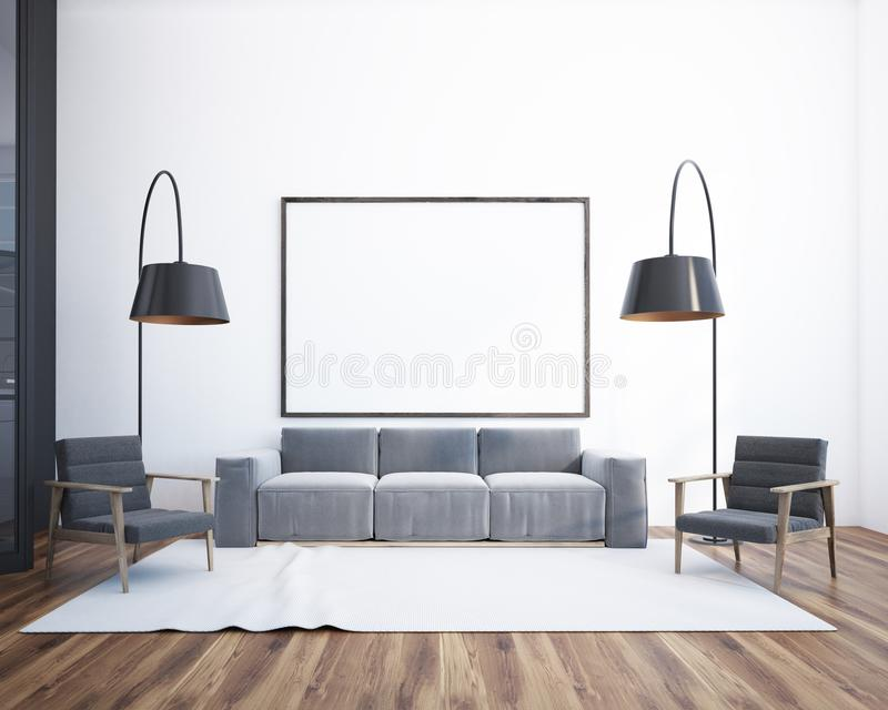 Интерьер, плакат и софа живущей комнаты иллюстрация вектора