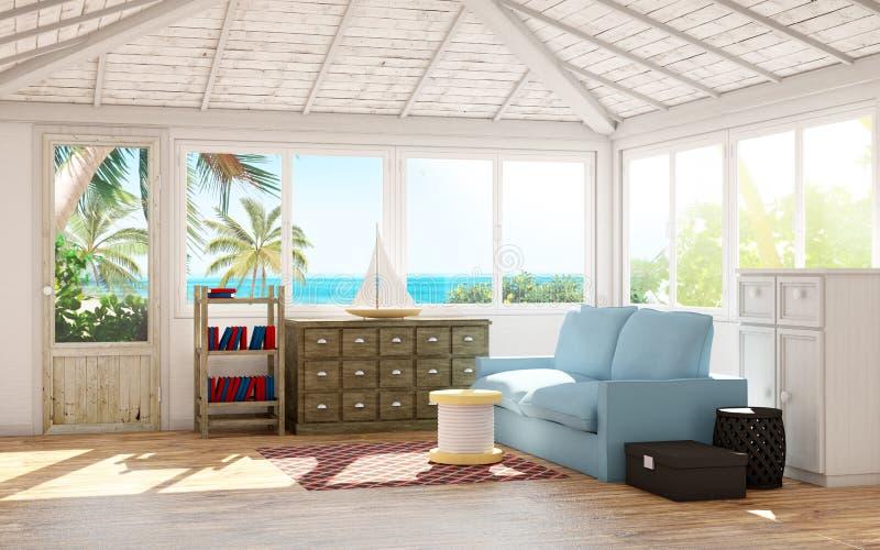 Интерьер пляжного домика иллюстрация штока