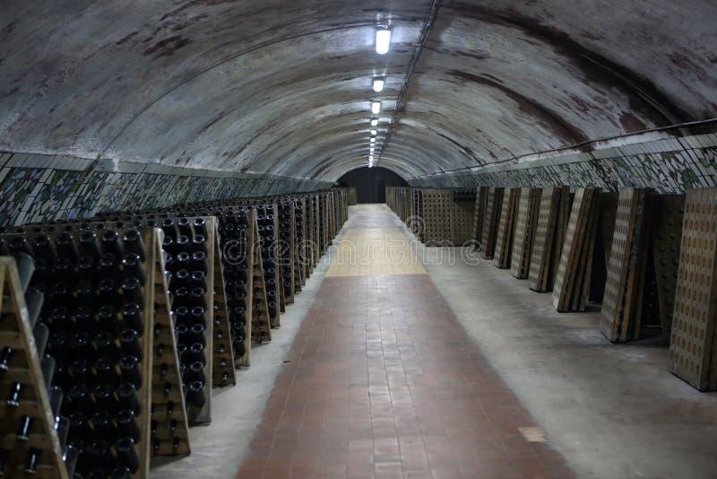 Интерьер погреба с игристым вином стоковое фото rf