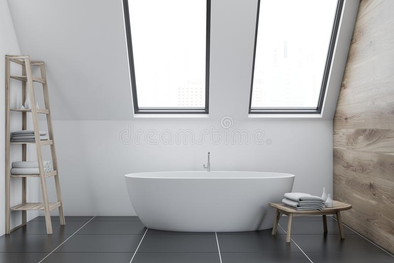 Интерьер, полка и ушат ванной комнаты чердака белые иллюстрация вектора