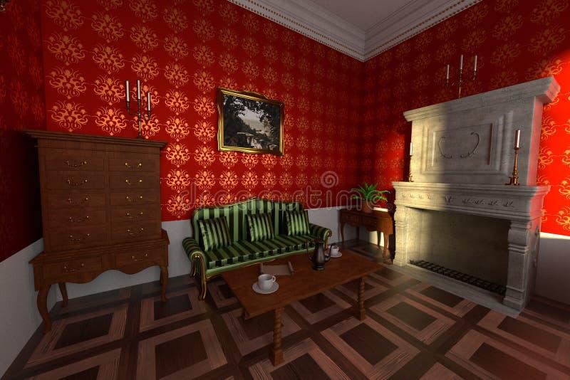 Интерьер поместья - живущая комната бесплатная иллюстрация