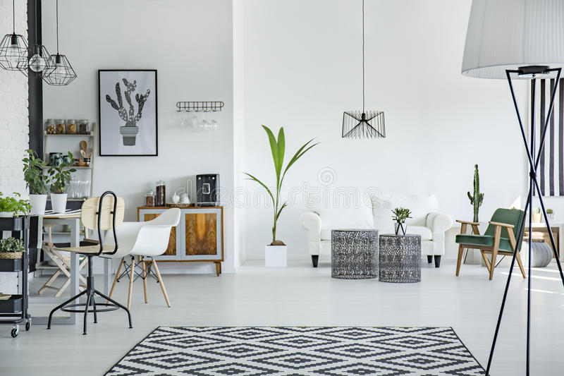 Интерьер просторной квартиры в скандинавском стиле стоковое фото
