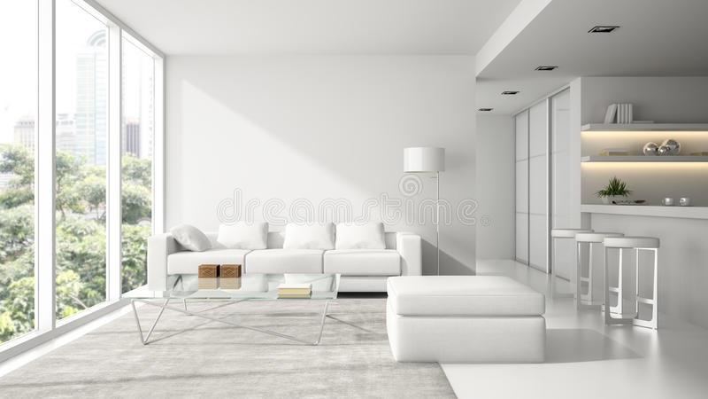 Интерьер просторной квартиры современного дизайна в белизне иллюстрация штока
