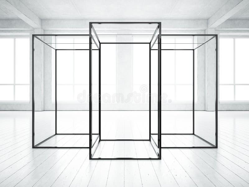 Интерьер просторной квартиры с конструкцией представления стоковое фото