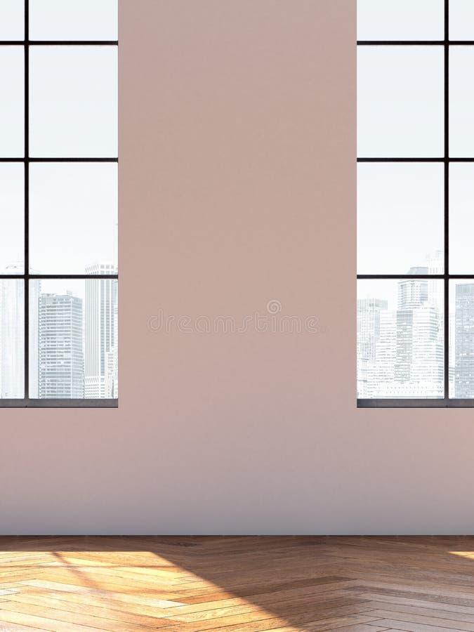 Интерьер просторной квартиры с окнами перевод 3d стоковое изображение