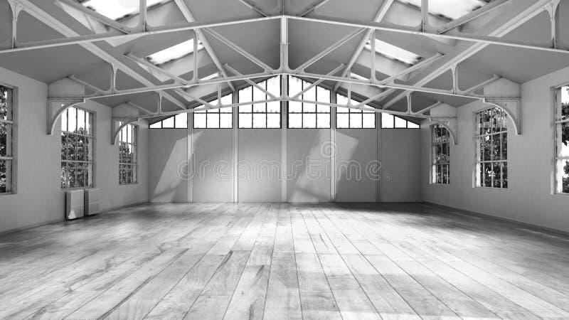 Интерьер пустого дома белый с большой иллюстрацией окна 3d бесплатная иллюстрация