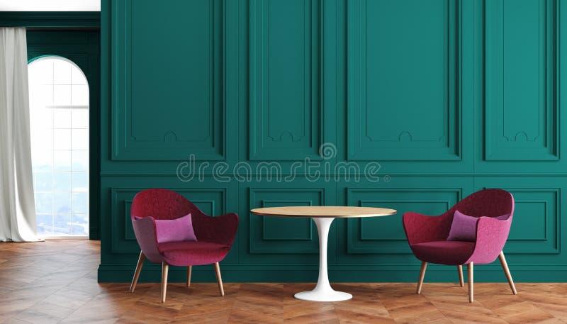 Интерьер пустой комнаты современный классический с зелеными стенами, красным цветом, бургундскими креслами, таблицей, занавесом и иллюстрация штока