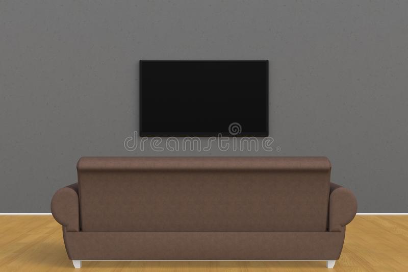 Интерьер пустой комнаты с ТВ и софой, комнатой прожития привел ТВ на стиле серой стены современном стоковое фото rf