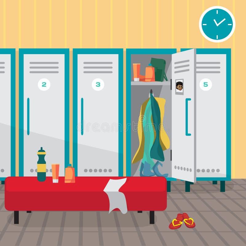 Интерьер раздевалки спортзала Одевающ место фитнес-клуб бесплатная иллюстрация