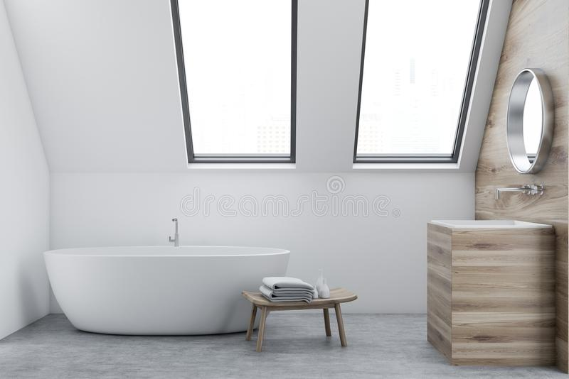 Интерьер, раковина и ушат ванной комнаты чердака белые иллюстрация вектора