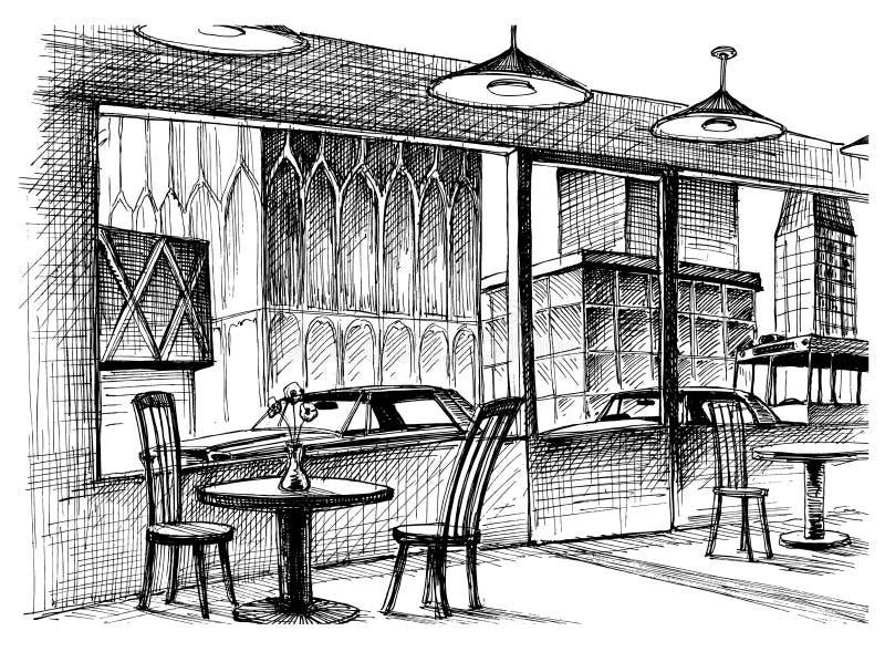 Интерьер ресторана иллюстрация штока