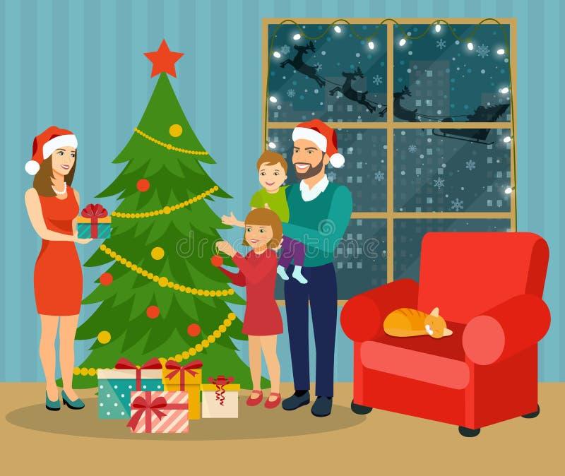 Интерьер рождества Положение семьи около рождественской елки и украшать бесплатная иллюстрация