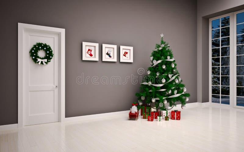 Интерьер рождества пустой с дверью & деревом стоковое изображение