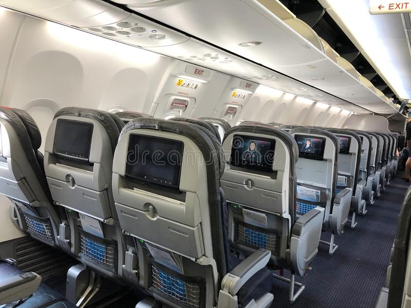 Интерьер самолета стоковое изображение