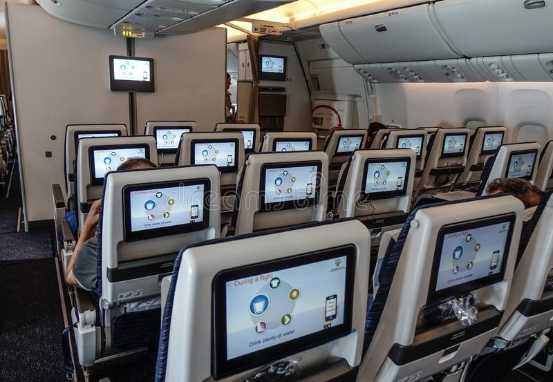 Интерьер самолета пассажира стоковые фотографии rf