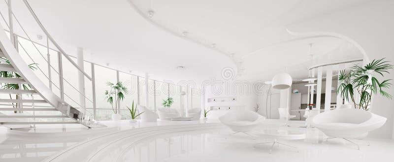 Интерьер самомоднейшей панорамы 3d квартиры представляет иллюстрация вектора