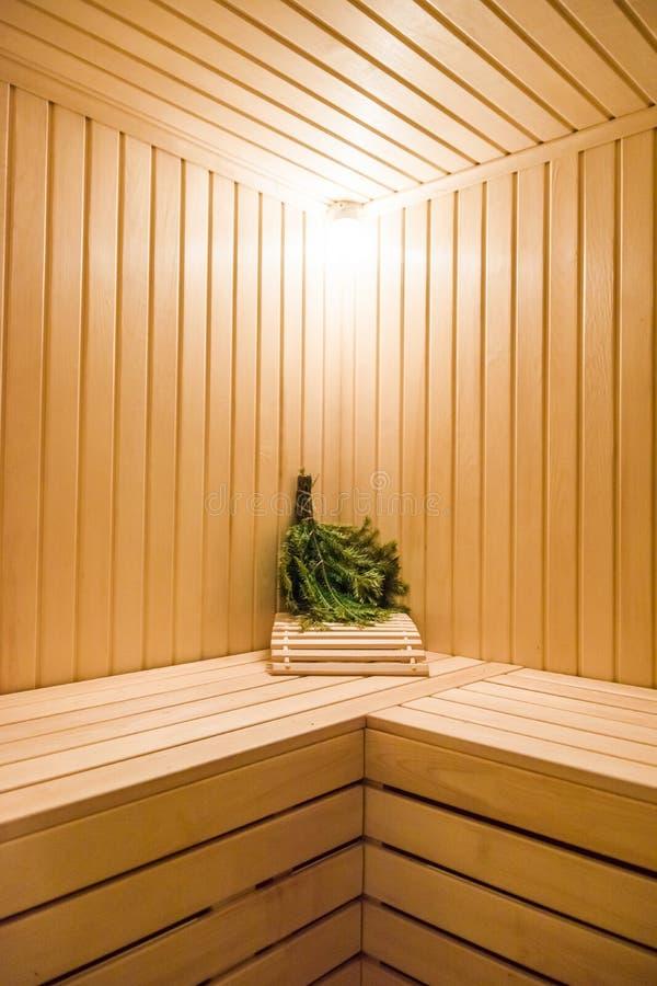Интерьер сауны деревянный стоковое изображение