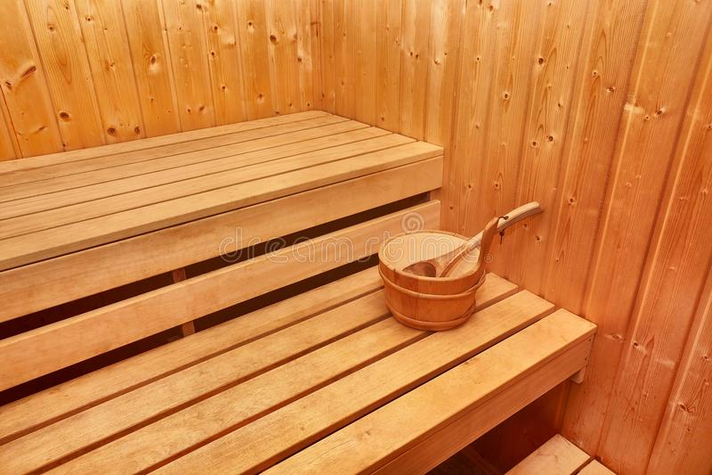 Интерьер сауны деревянный стоковое фото rf