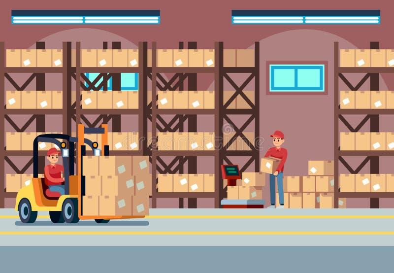 Интерьер склада Затяжелители людей работая в stockroom индустрии, транспорте и грузоподъемнике, векторе тележки доставки иллюстрация штока