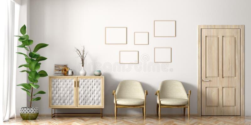 Интерьер современного перевода живущей комнаты 3d иллюстрация вектора