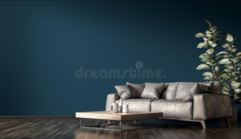 Интерьер современной живущей комнаты с серым переводом софы 3d бесплатная иллюстрация