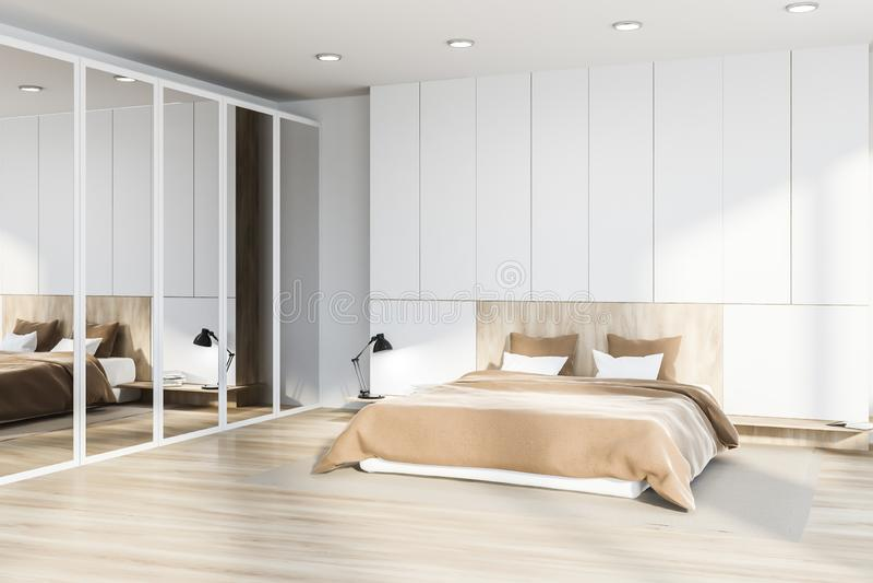 Интерьер спальни хозяев, шкаф зеркала иллюстрация вектора