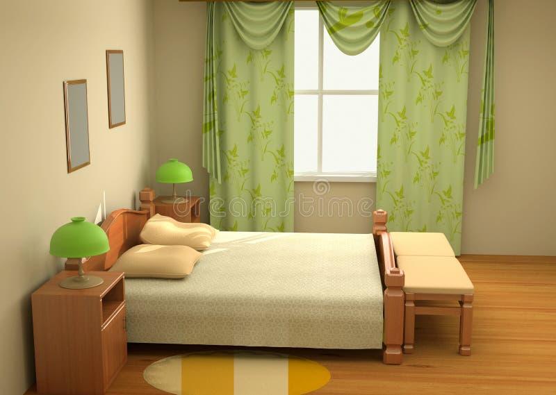 интерьер спальни 3d иллюстрация штока