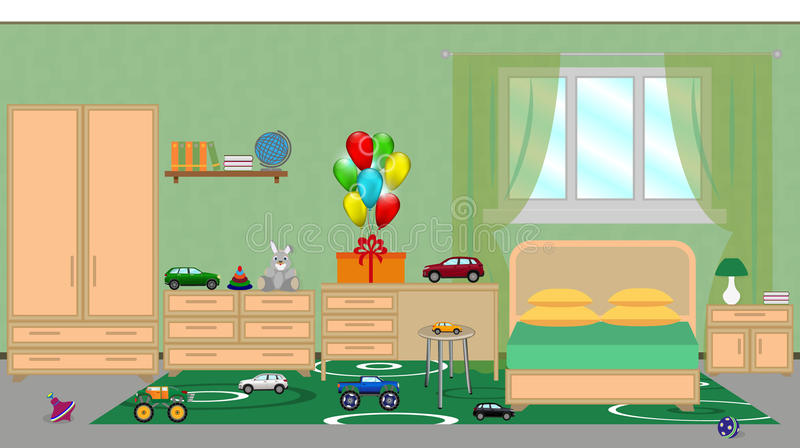 Интерьер спальни детей с мебелью, праздничным decorat иллюстрация вектора