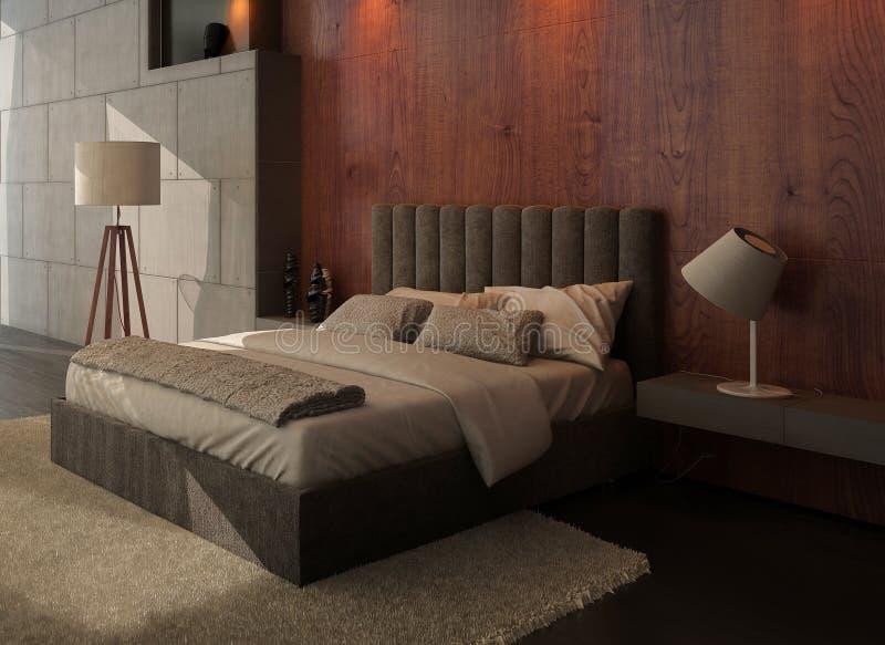 Интерьер спальни современного дизайна с деревянной и каменной стеной бесплатная иллюстрация