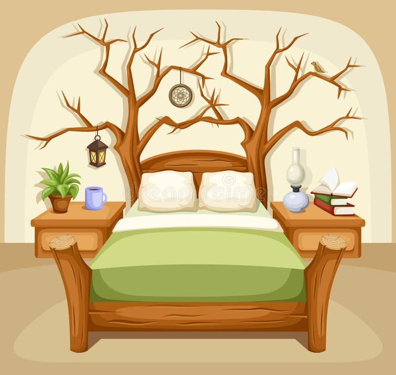 Интерьер спальни фантазии также вектор иллюстрации притяжки corel иллюстрация вектора