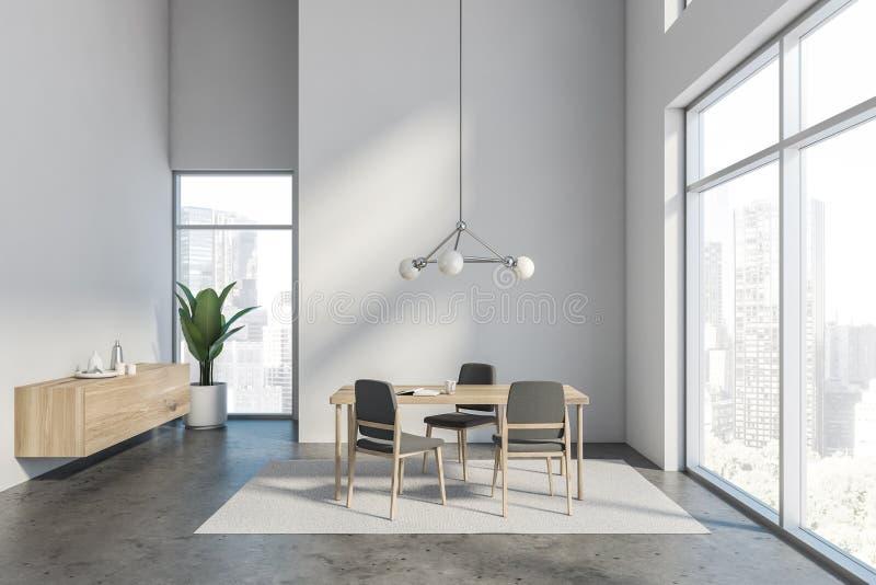 Интерьер столовой просторной квартиры белый бесплатная иллюстрация