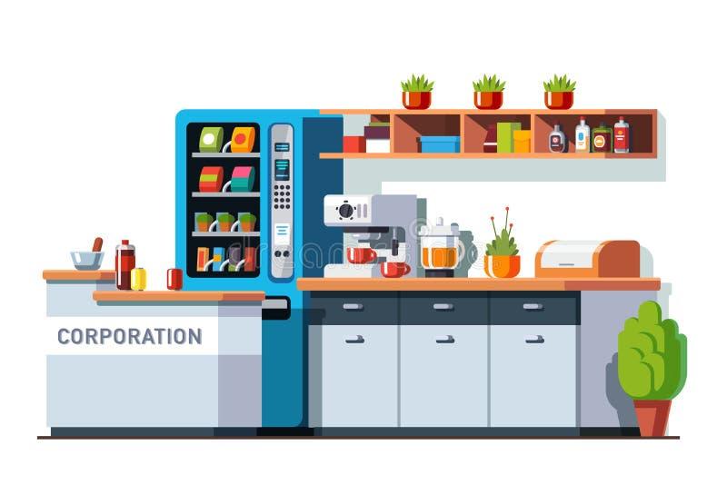 Интерьер столовой и кухни корпоративного офиса бесплатная иллюстрация