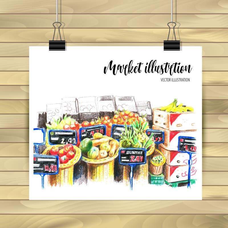 Интерьер супермаркета в стиле руки вычерченном Гастроном, отдел овоща Иллюстрация вектора черно-белая иллюстрация вектора
