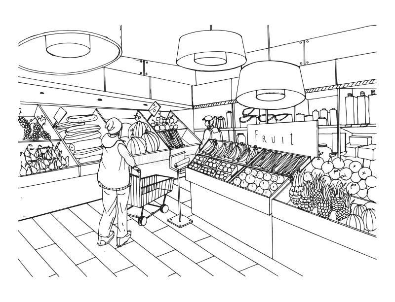 Интерьер супермаркета в стиле нарисованном рукой Гастроном, vegetable отдел Иллюстрация вектора черно-белая бесплатная иллюстрация