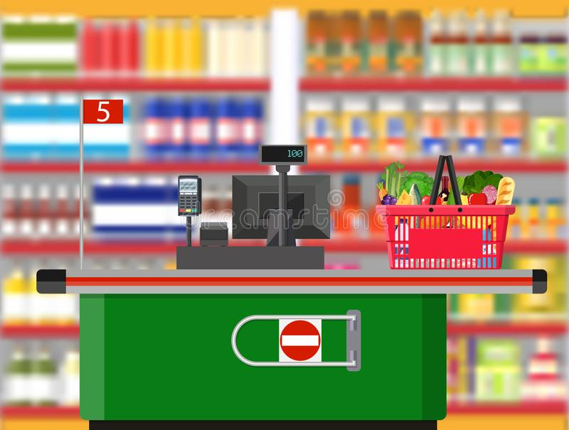 Интерьер супермаркета Рабочее место кассира встречное иллюстрация штока