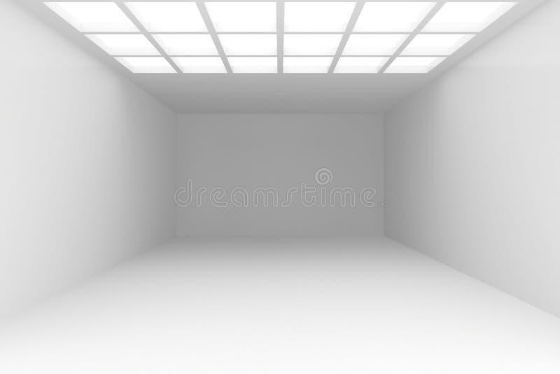 Интерьер с белой стеной на которую падает свет от потолка окна Перевод иллюстрации 3d предпосылки иллюстрация вектора