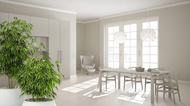 Интерьер с в горшке бамбуковым заводом, естественная конструктивная схема Дзэн дизайна интерьера, классическая белая кухня с дере иллюстрация вектора